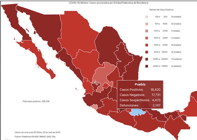 La República Mexicana se dividirá en 18 estados en rojo (riesgo máximo de contagio) y 14 en naranja (riesgo alto de contagio) para la semana del 20 al 26 de julio.