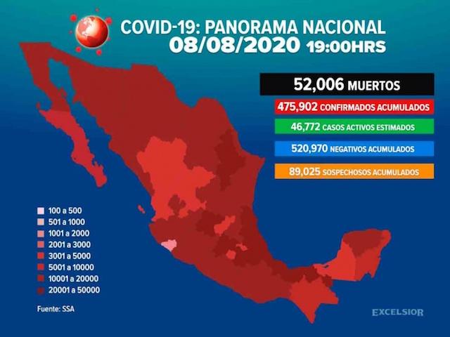 Incrementa a 52 mil 006 la cifra de muertos por Covid-19 en México