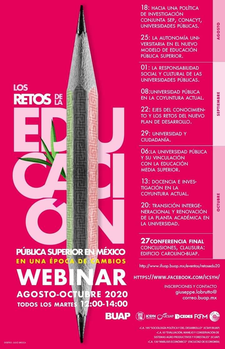 Francisco Vélez Pliego, del ICSH de la BUAP, convoca a un webinar sobre implicaciones de la transformación en la educación media superior y superior