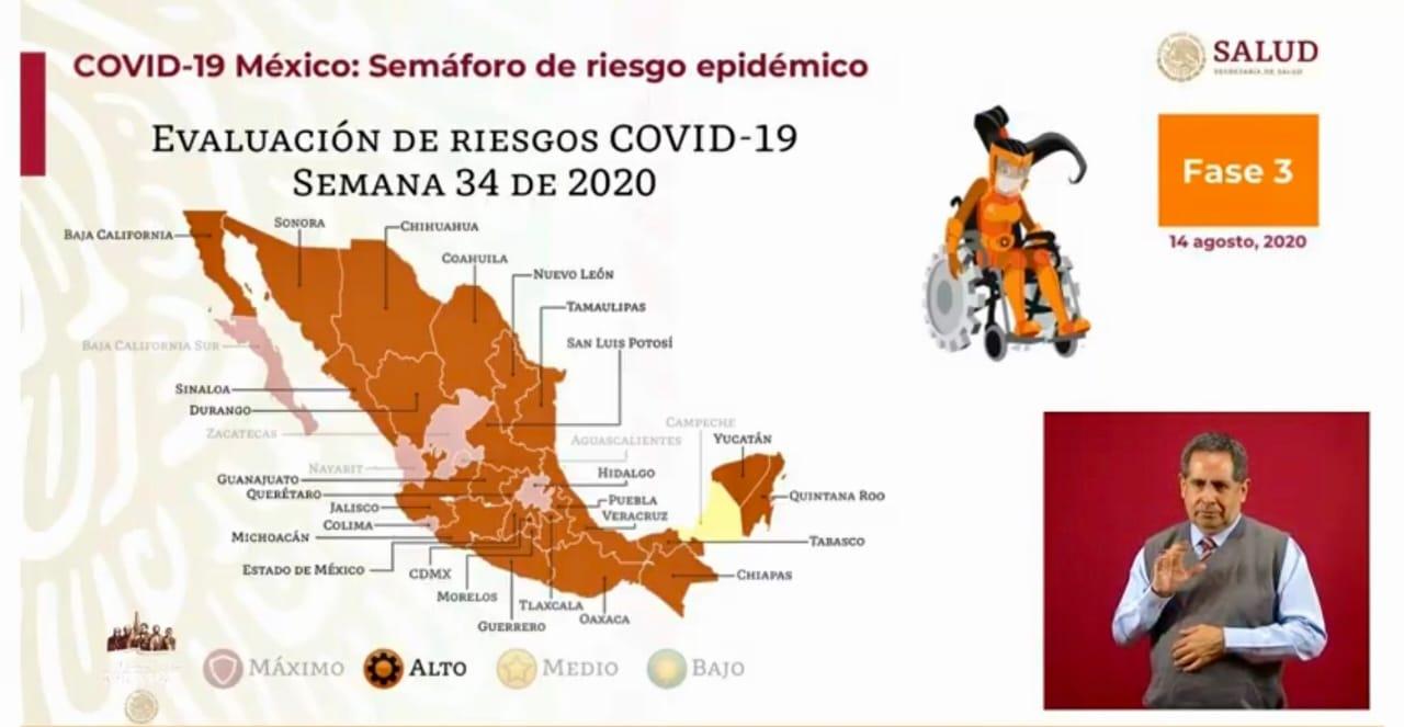 Secretaría de Salud federal recomienda a Puebla pasar al semáforo naranja a partir del lunes