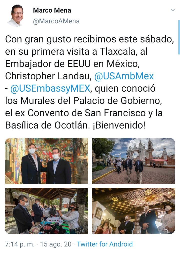 Desde Tlaxcala: Gobernador Mena recibe al embajador de Estados Unidos