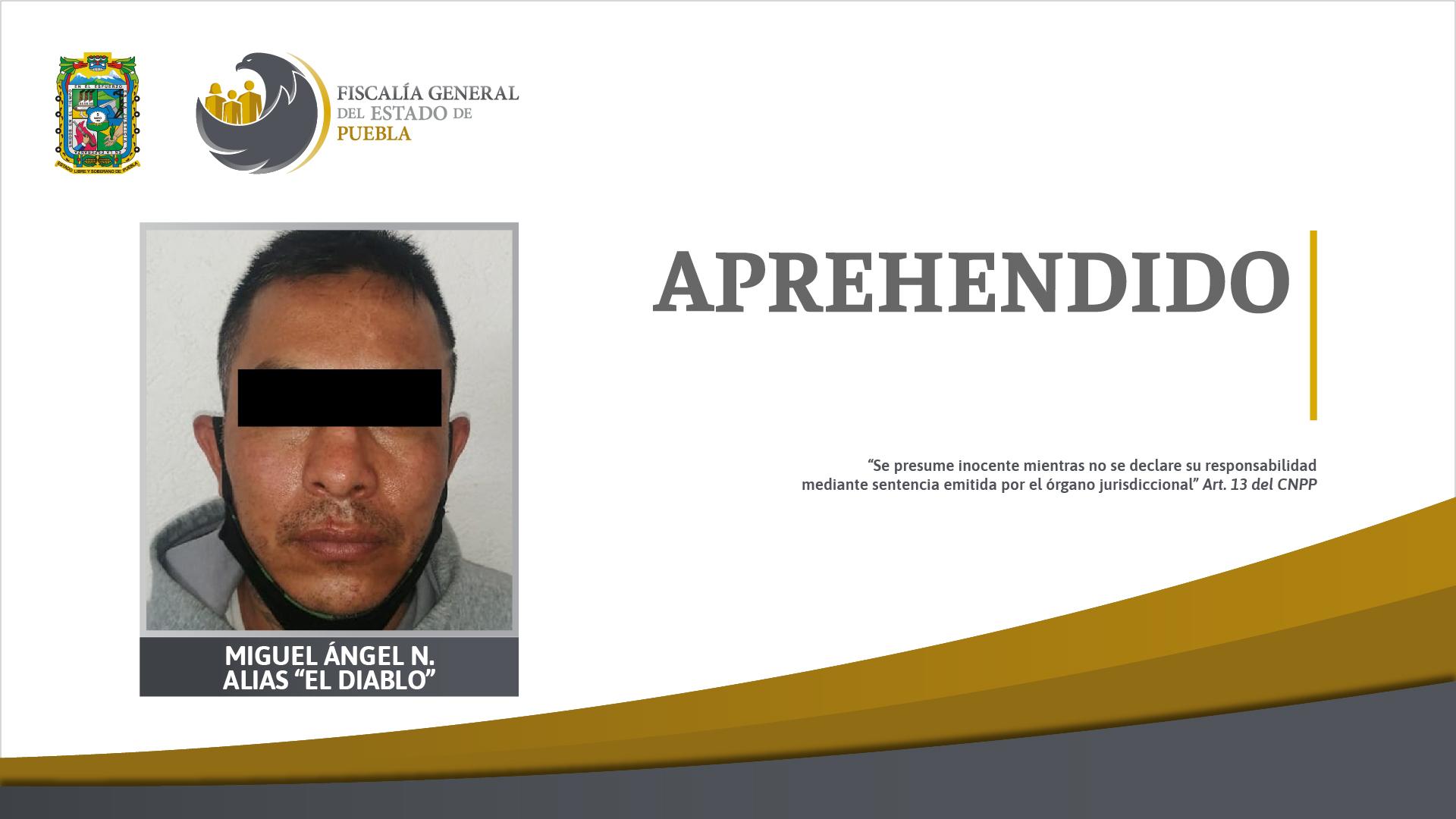 """FGE aprehendió a Miguel Ángel N. """"El Diablo"""" por homicidio en grado de tentativa"""