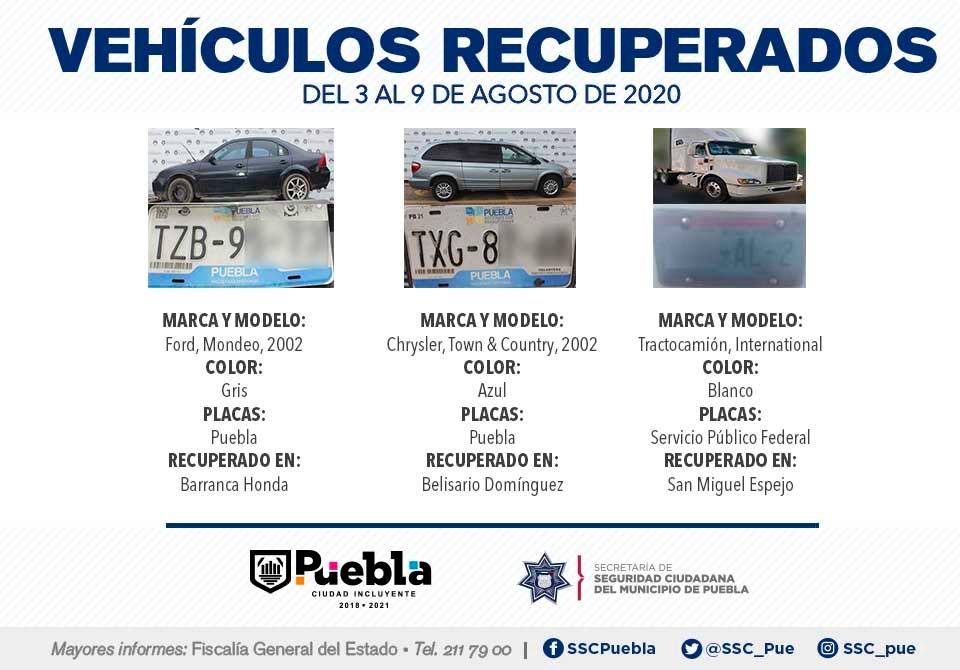 Durante primera semana de agosto recuperó Policía Municipal de Puebla 12 vehículos con reporte de robo.