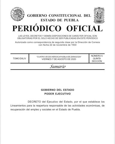 Decreto donde el gobernador Barbosa estipula los lineamientos de la reactivación económica