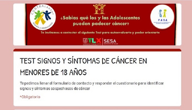 Favorece SESA diagnóstico oportuno de cáncer infantil con test de autoevaluación en línea