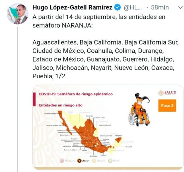 Puebla se mantiene en semáforo naranja dentro de la pandemia: López Gatell