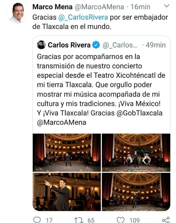 Carlos Rivera, embajador de Tlaxcala en el mundo: Marco Mena