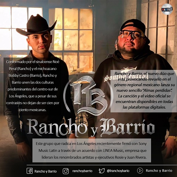 """""""Rancho y Barrio"""" promueven su nuevo sencillo """"Almas Perdidas"""""""