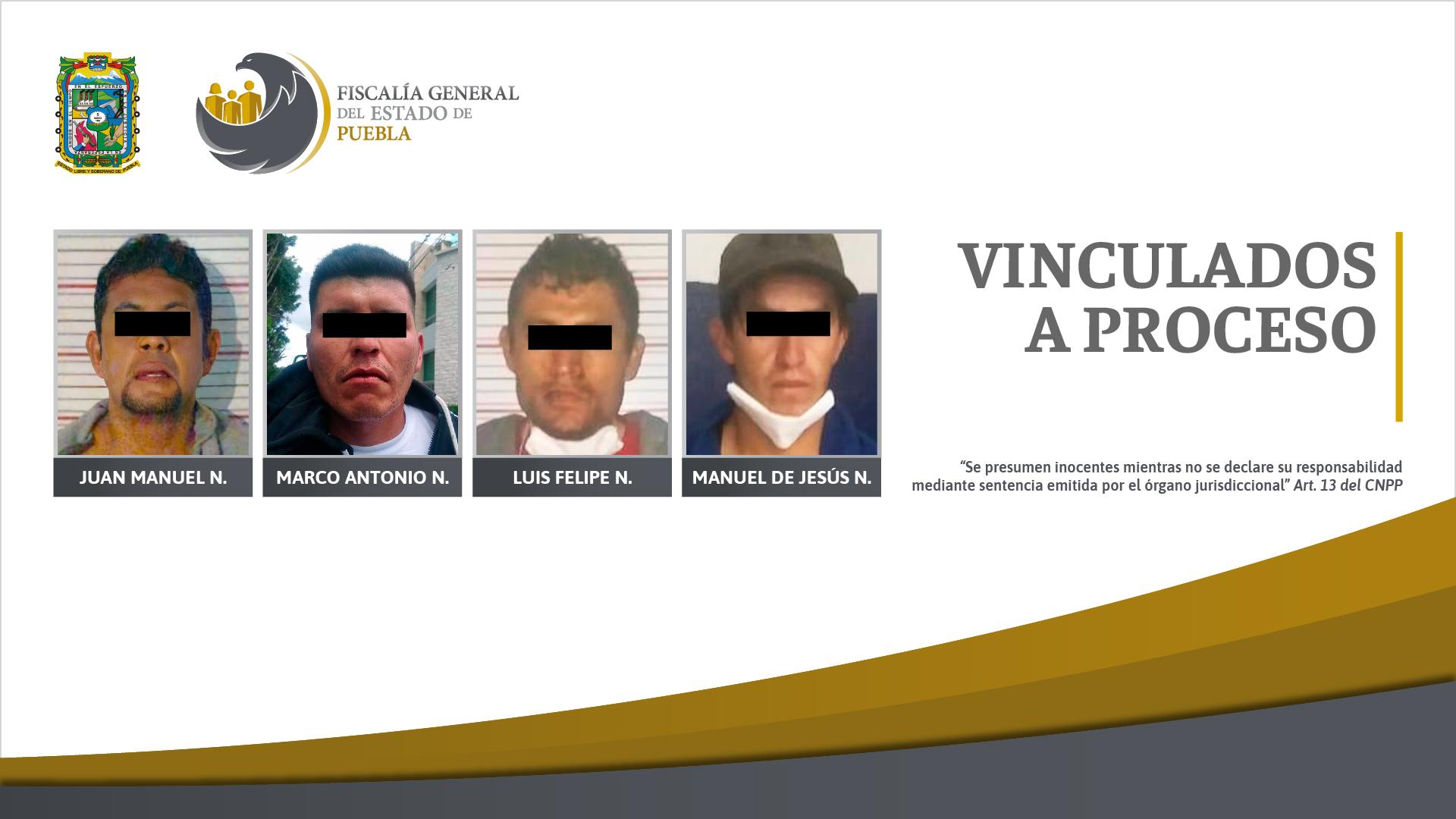Cuatro vinculados a proceso por el delito de robo en diversas modalidades
