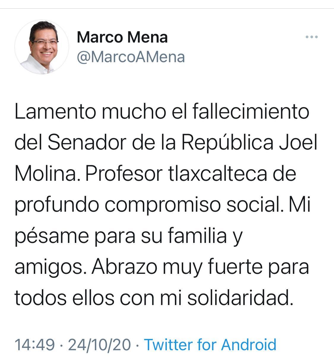 Desde Tlaxcala: Marco Mena lamenta fallecimiento del senador Joel Molina