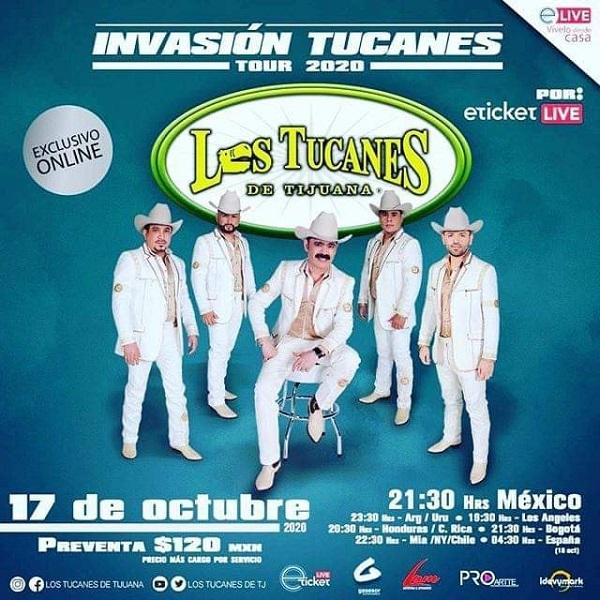 """""""Los Tucanes de Tijuana"""" presentarán su """"Invasión Tucanes Tour 2020"""" vía streaming"""