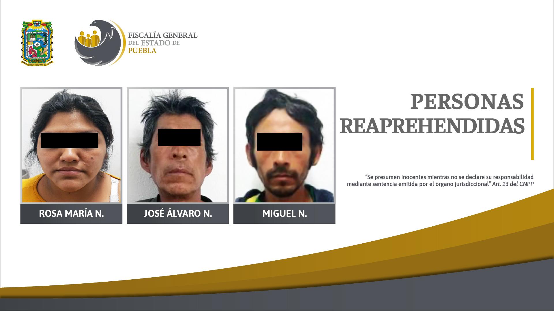 Reaprehensión de tres personas por incumplir requerimientos judiciales