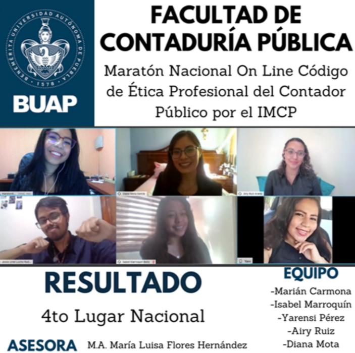 Destacan estudiantes de Contaduría Pública de la BUAP en el Maratón Nacional de Ética Profesional