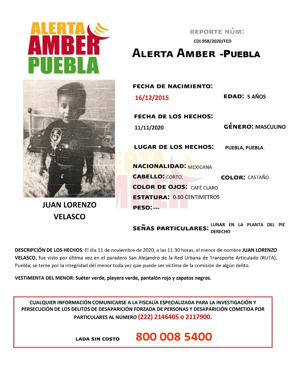 Se activa Alerta Amber para localizar a un menor de 5 años