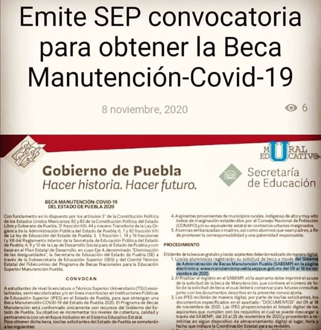 """Gobierno estatal emite convocatoria para la entrega de becas """"Manutención Covid-19"""""""