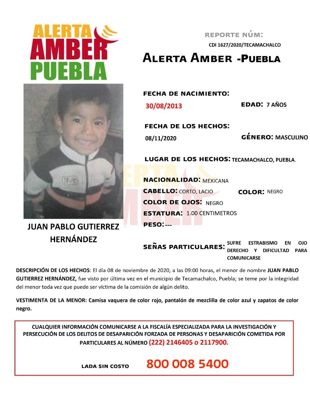 Fiscalía de Puebla activa Alerta Amber para localizar a menor de 7 años de edad