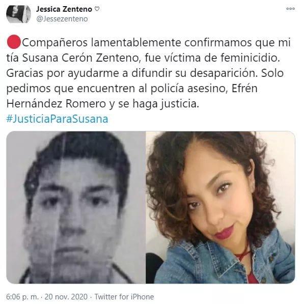 Se confirma que la mujer encontrada el jueves en la noche en el periférico era Susana, la ex policía de la SSP