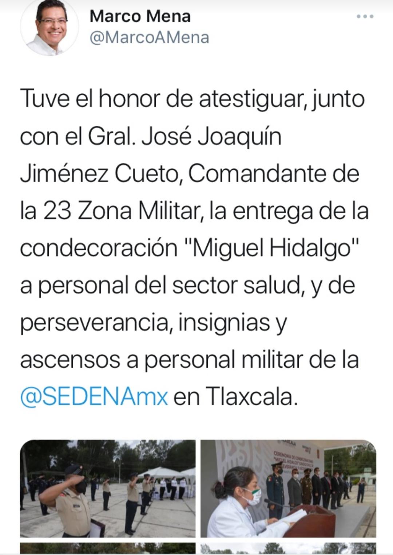 """Gobernador de Tlaxcala atestiguó la entrega de la condecoración """"Miguel Hidalgo"""" a personal del sector salud"""