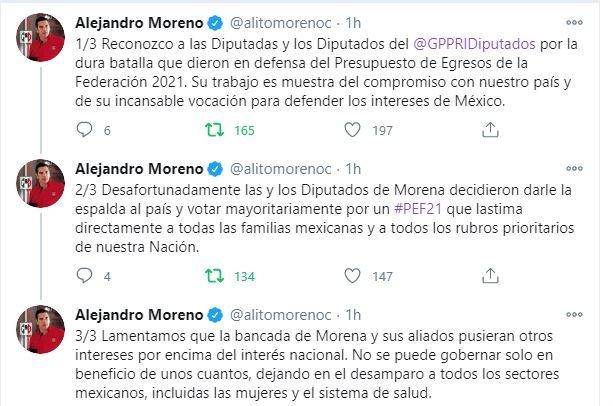 PRI votó en contra del presupuesto, porque no resuelve prioridades: Alejandro Moreno