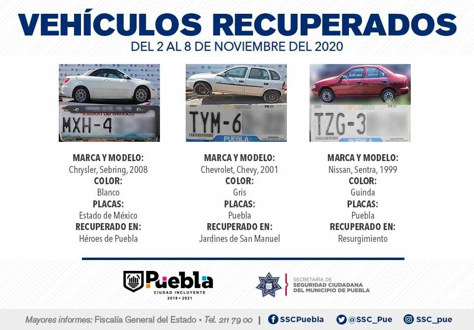 Remitió Policía Municipal de Puebla a 24 vehículos ante el agente del Ministerio Público.