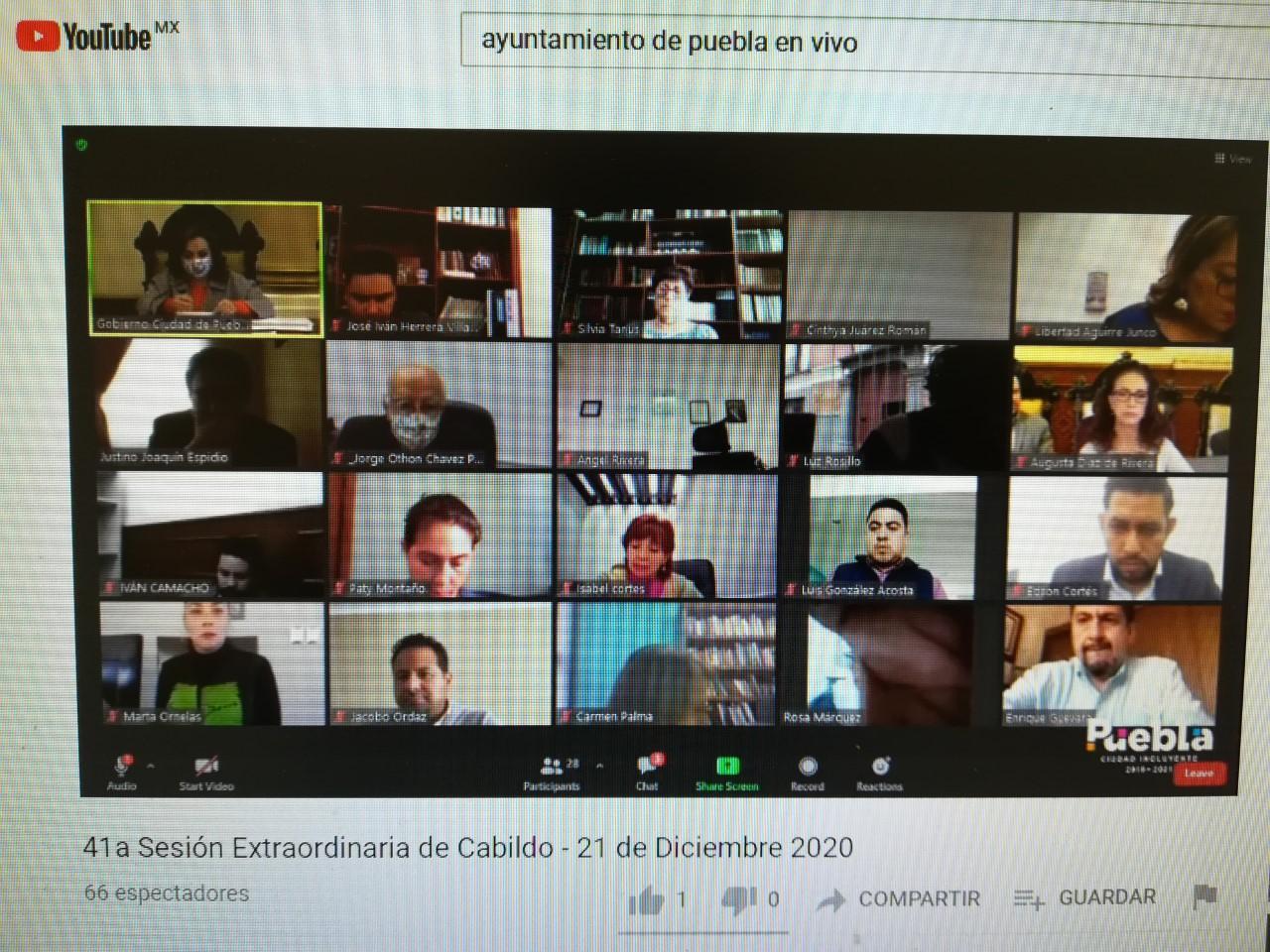 Cabildo de Puebla capital aprueba Presupuesto de Egresos 2021 por 4 mil 609 mdp