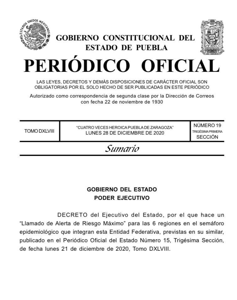 Gobierno de Puebla publica el decreto para suspender las actividades no esenciales