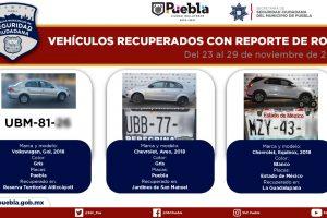 Policía municipal recupera 10 vehículos robados y otros 9 usados en diversos delitos