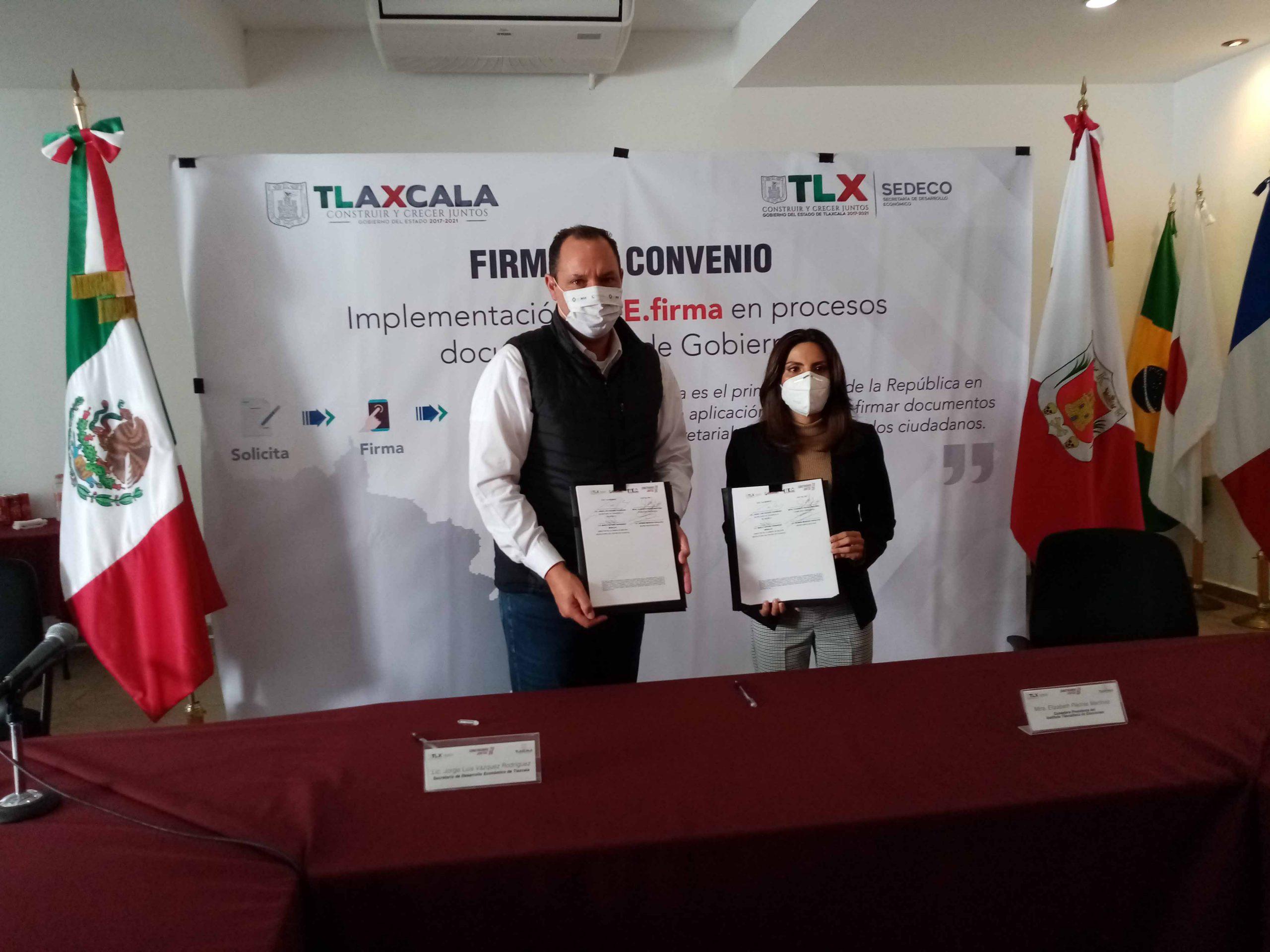 Signan SEDECO e ITE convenio para uso de firma electrónica.