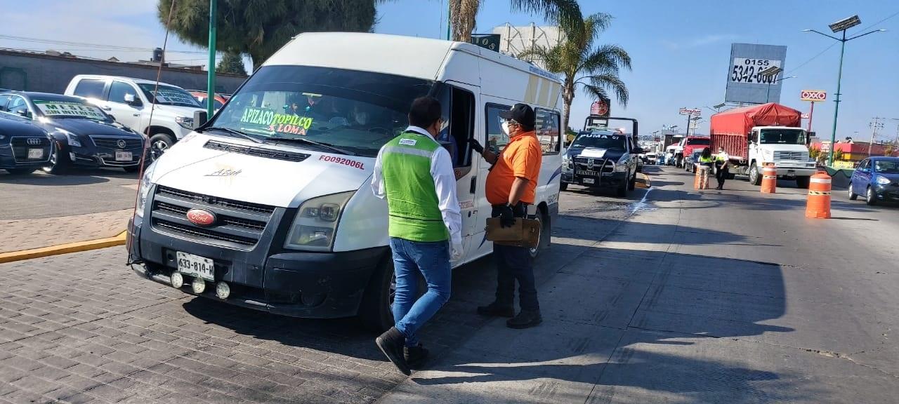 Desde Tlaxcala: Implementan dependencias estatales operativo de supervisión de medidas sanitarias en el transporte público.
