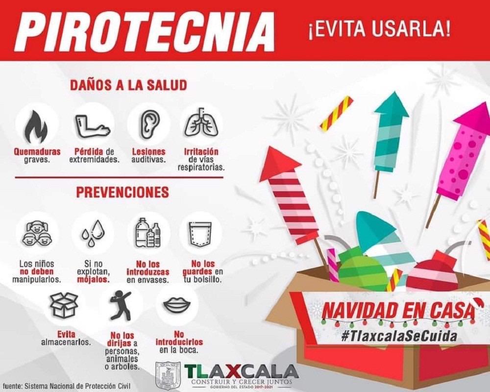 Desde Tlaxcala: Emiten CEPC y CGE recomendaciones para prevenir accidentes por el uso de pirotecnia