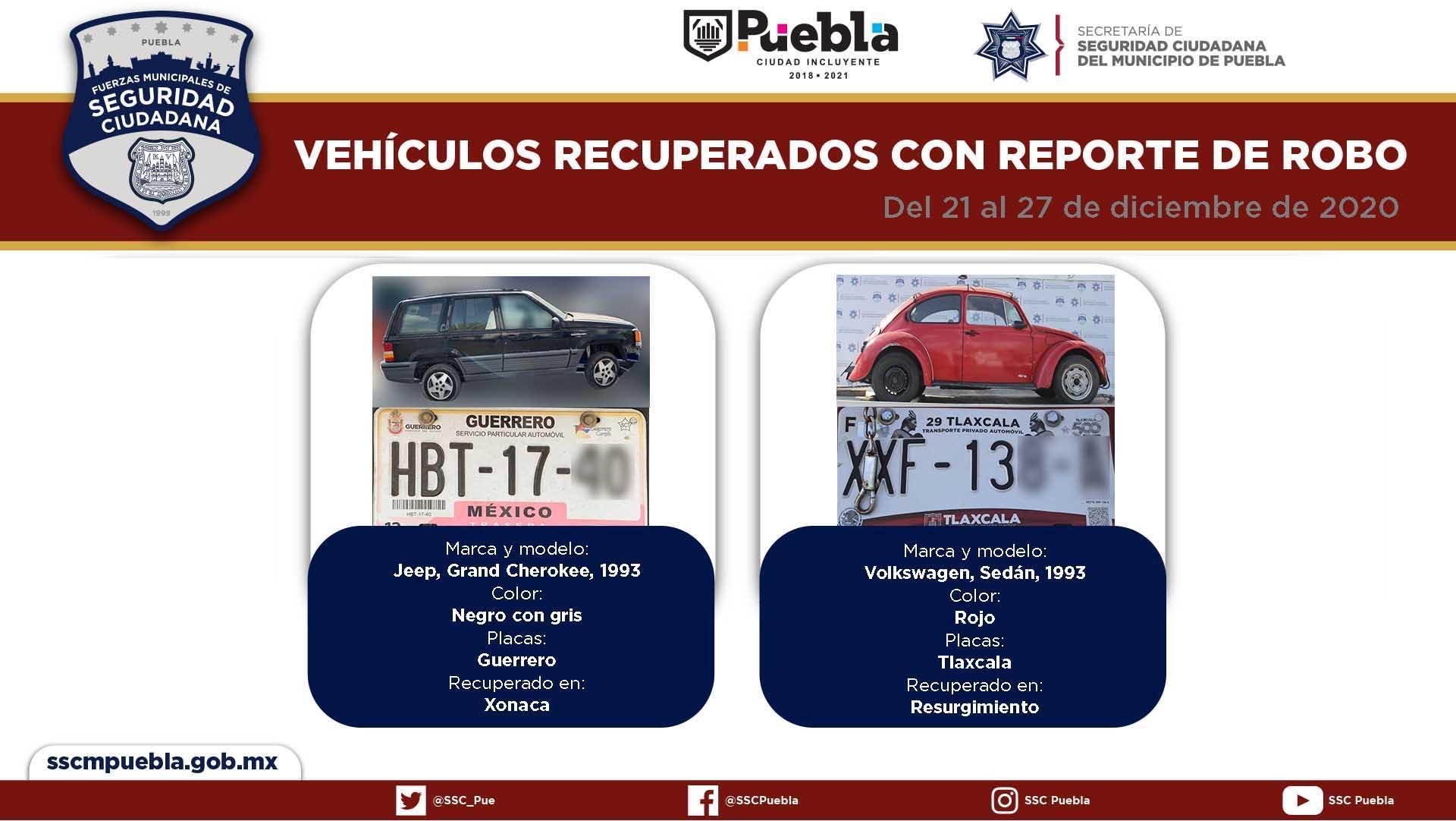 Durante este cierre de año remitió Policía Municipal de Puebla 17 vehículos ante el agente del ministerio público