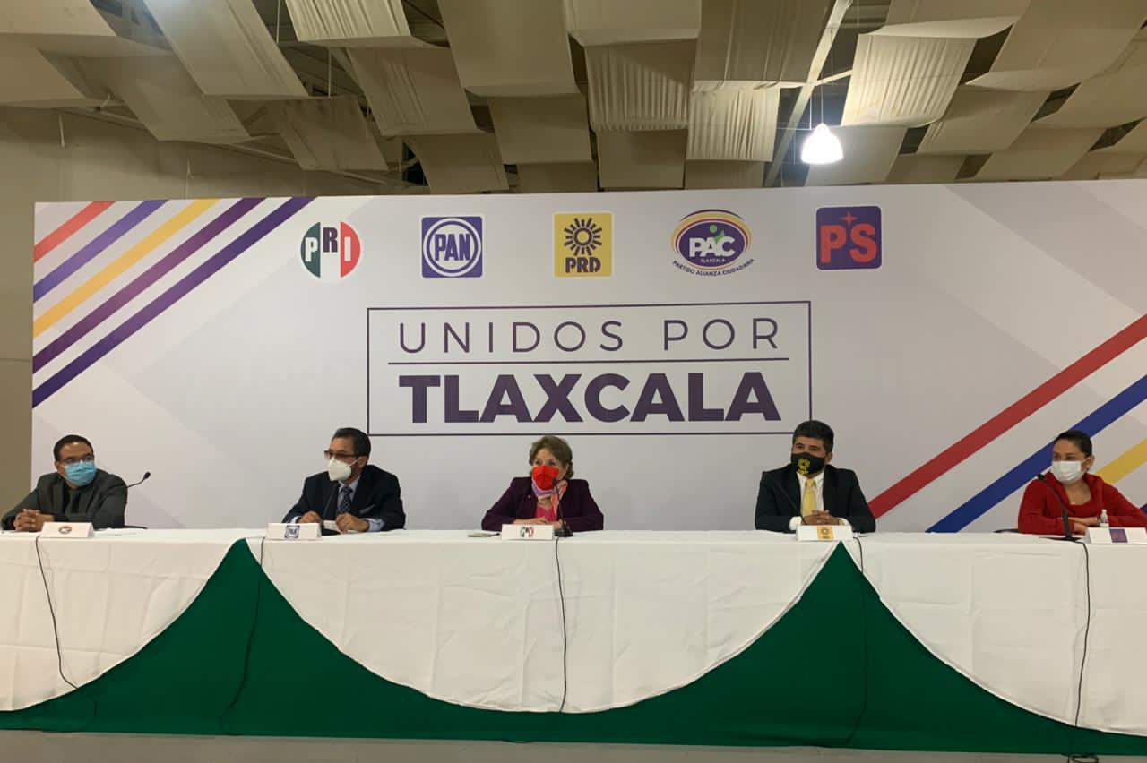 """Anuncian PAN, PRI, PRD, PAC y PS mega alianza  """"Unidos por Tlaxcala"""" Rumbo al 2021"""