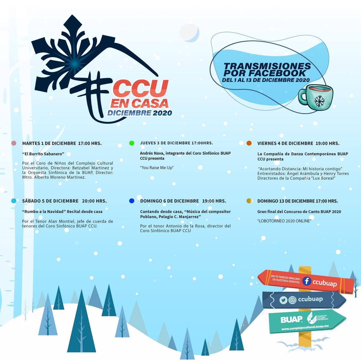Cartelera del CCU de la BUAP del martes 1 al domingo 6 de diciembre