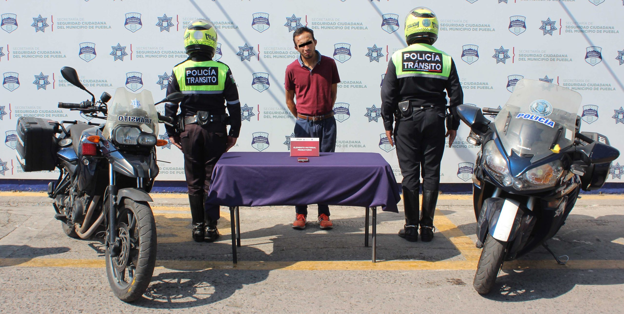 En el marco del Día Nacional del Policía de Tránsito, motopatrulleros del grupo Orión de la SSC de Puebla detuvieron a probable asaltante