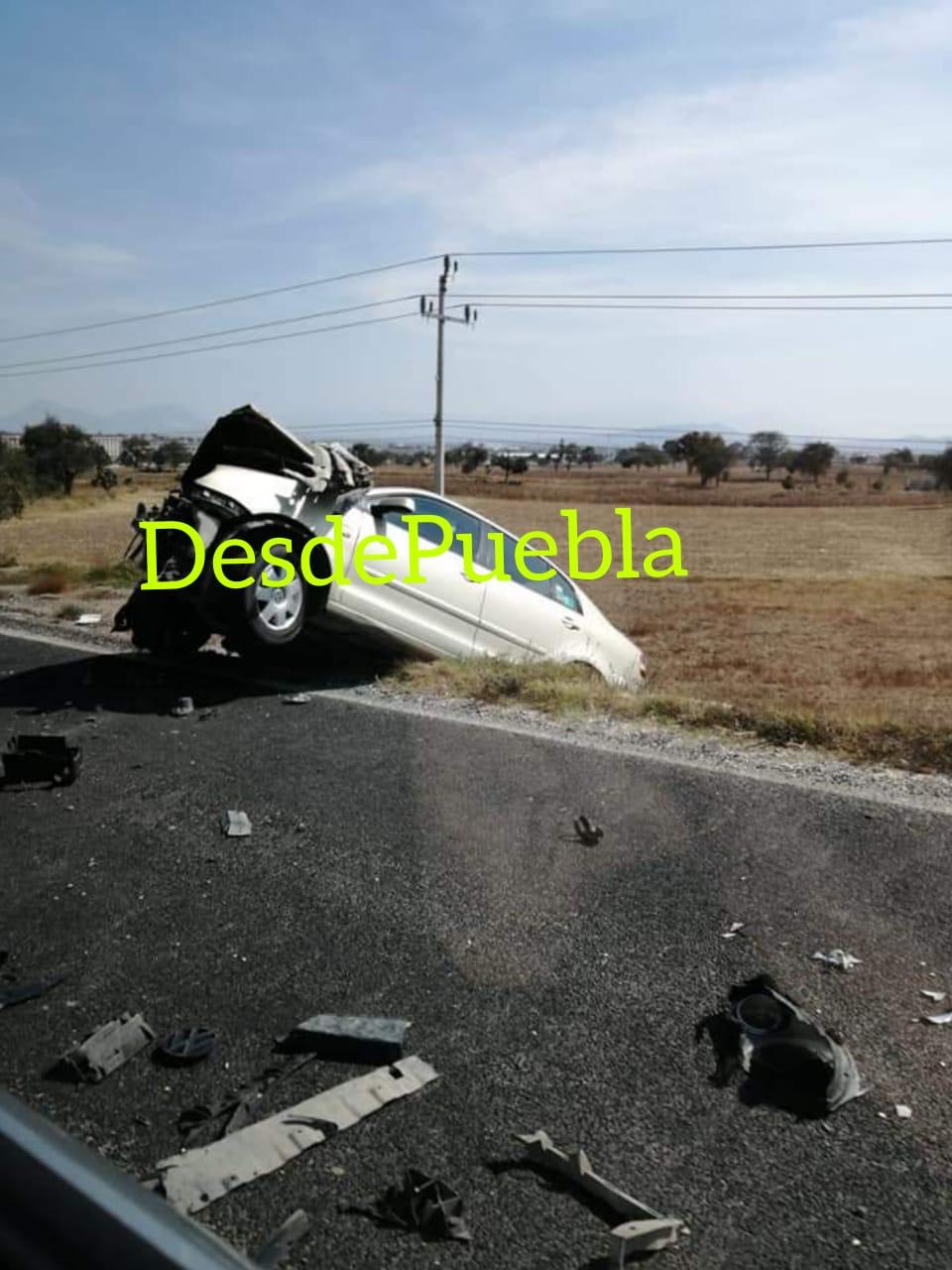 Dos lesionados de gravedad por un choque en la Amozoc-Teziutlán