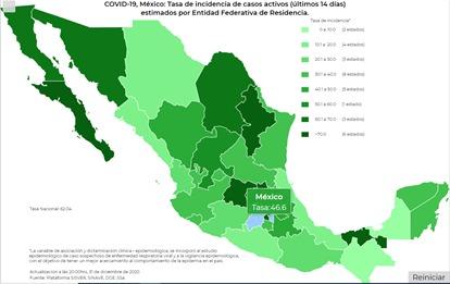 México cierra el año con 125 mil 807 defunciones y un millón 426 mil 094 contagios de Covid19