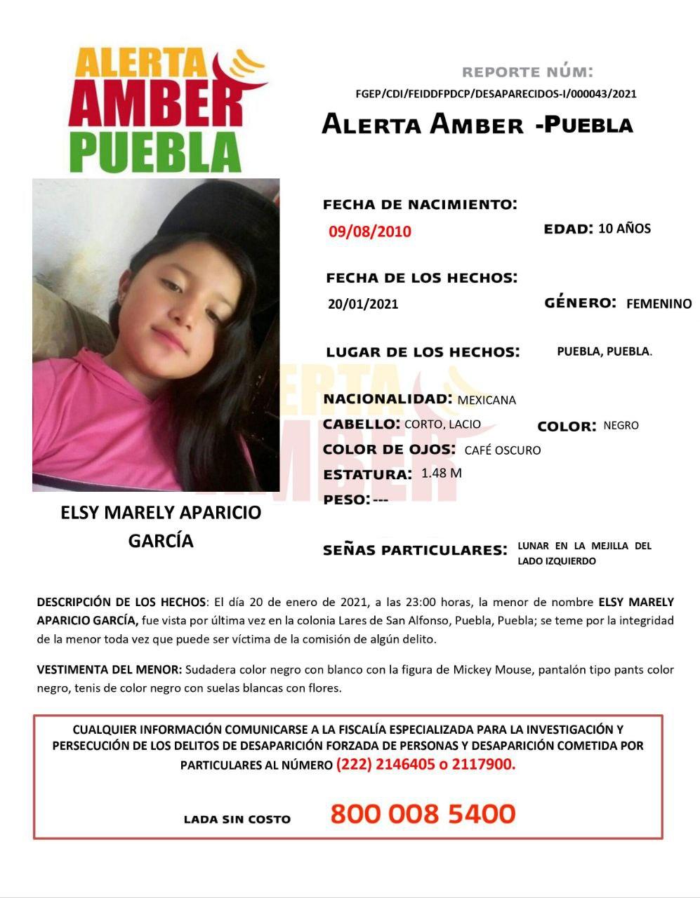 Fiscalía de Puebla activa Alerta Amber para localizar a menor de 10 años de edad
