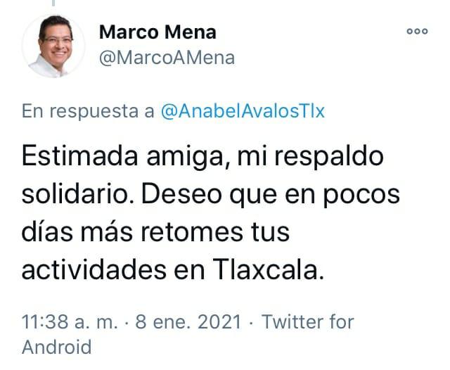Marco Mena envió mensaje de solidaridad a Anabell Ávalos