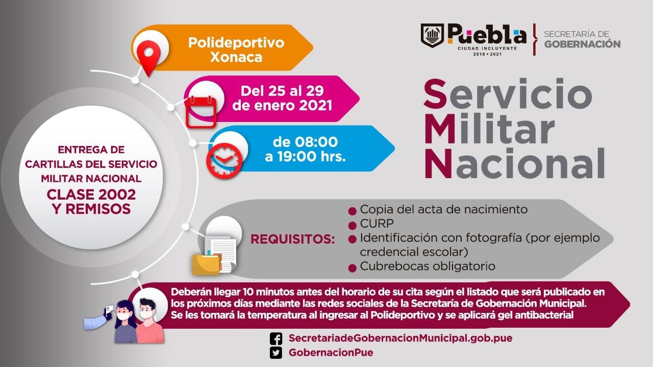 Ayuntamiento de Puebla publica listados para liberación de cartillas del Servicio Militar clase 2002 y remisos