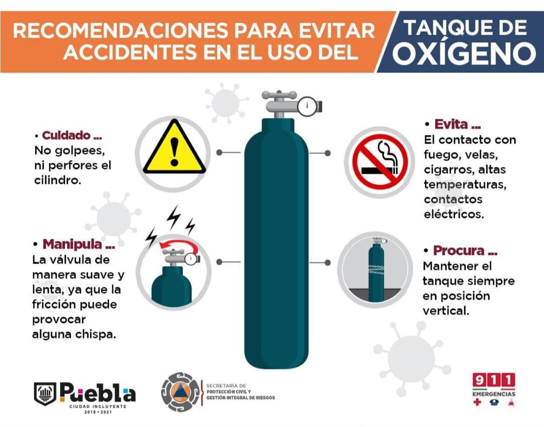 Protección Civil municipal emite recomendaciones para el uso de tanques de oxígeno suplementario