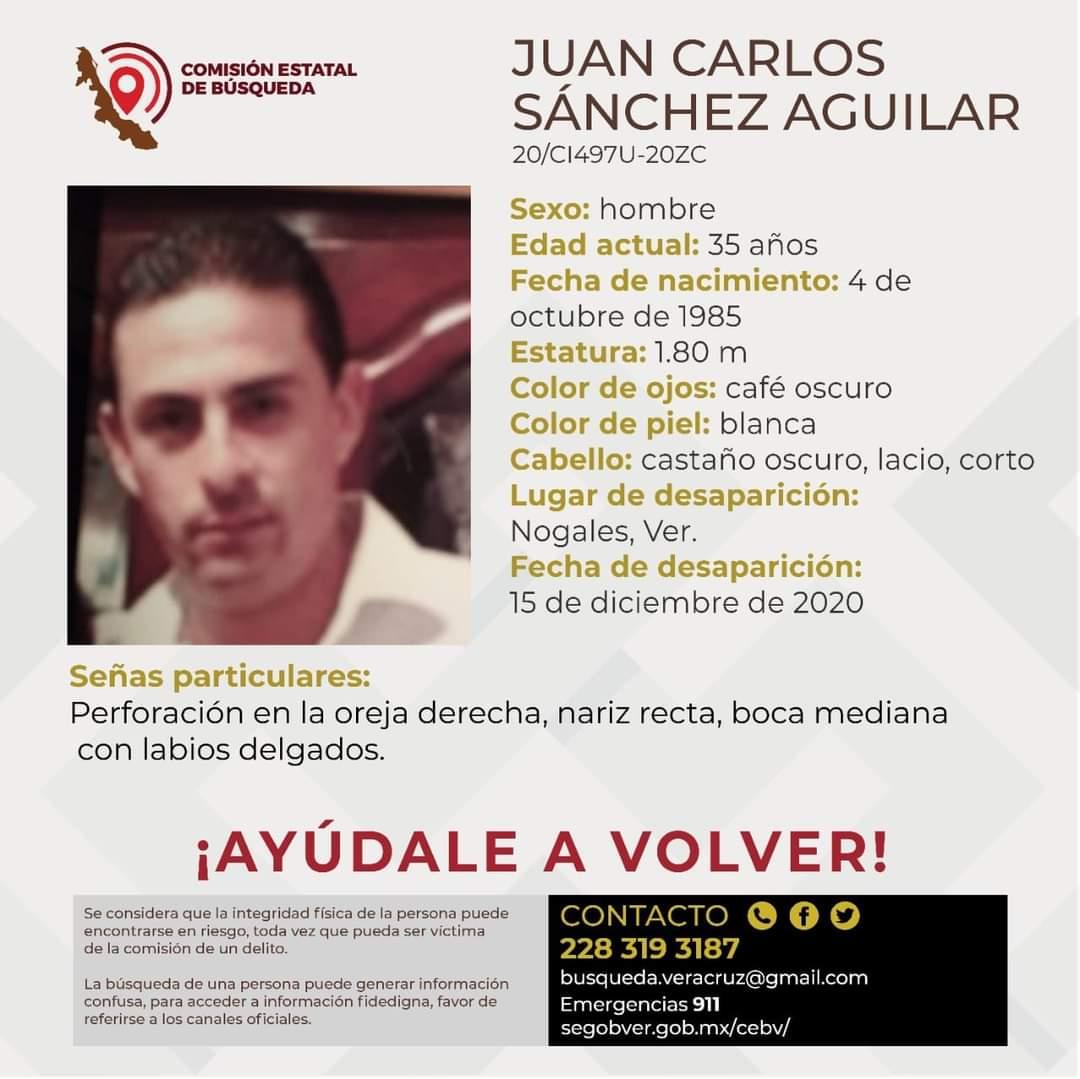 Solicitamos su valiosa colaboración para localizar a Juan Carlos Sánchez Aguilar