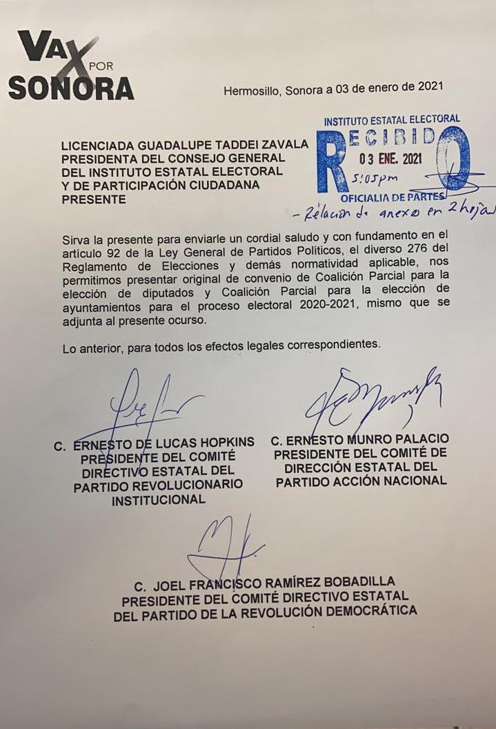 """Registran PRI, PAN y PRD la alianza """"Va por Sonora"""""""