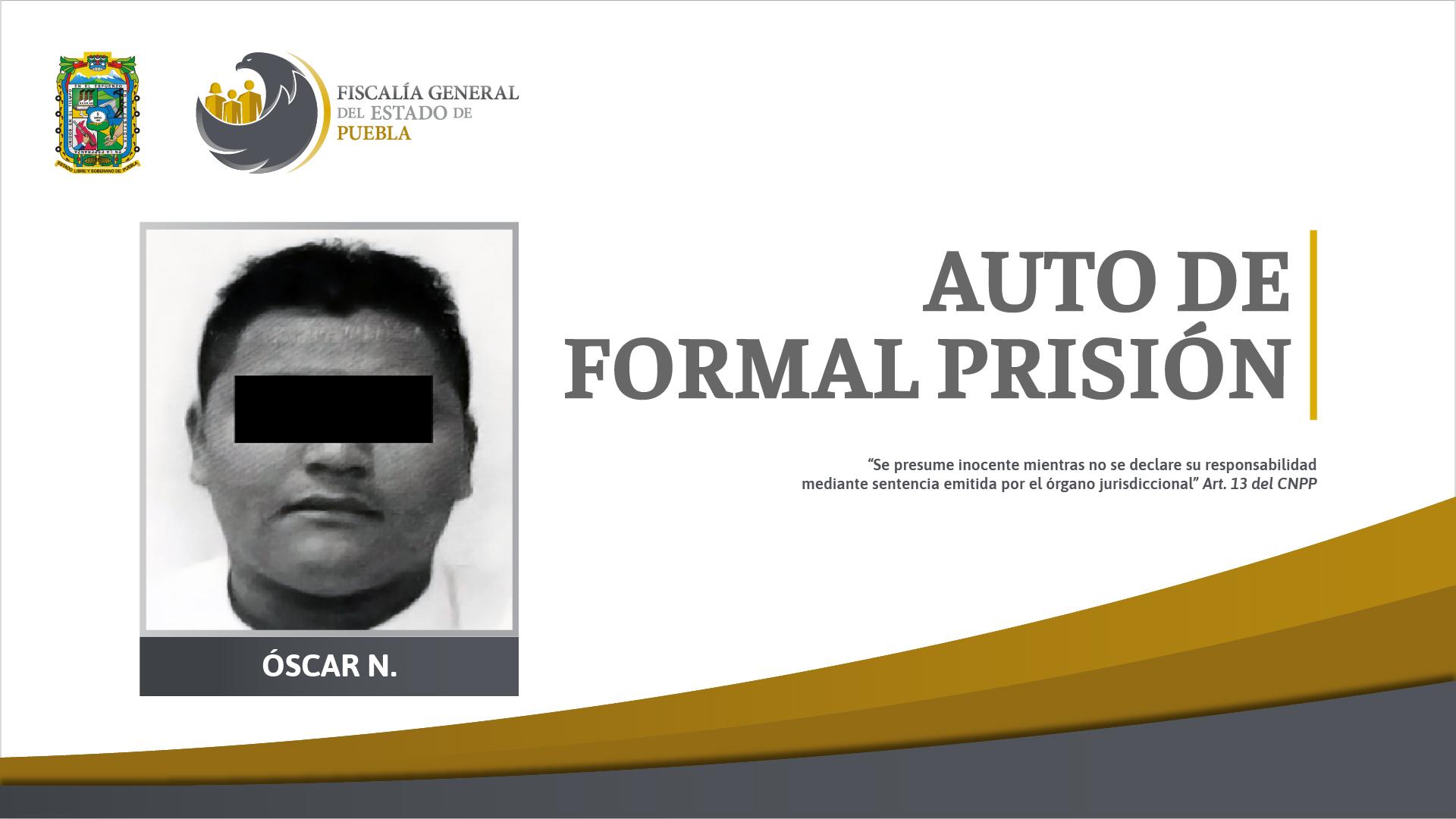 """Auto de formal prisión contra Óscar N. """"El Jabalí"""" por secuestro"""