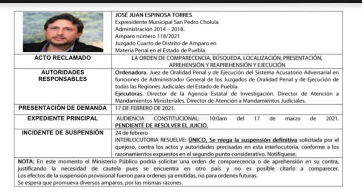 Niegan suspensión definitiva al amparo promovido por José Juan Espinosa Torres y podría ser detenido en el extranjero