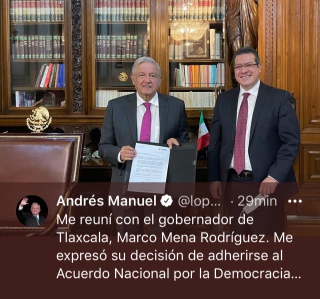 Tlaxcala, primer estado en sumarse al Acuerdo Nacional por la Democracia: AMLO