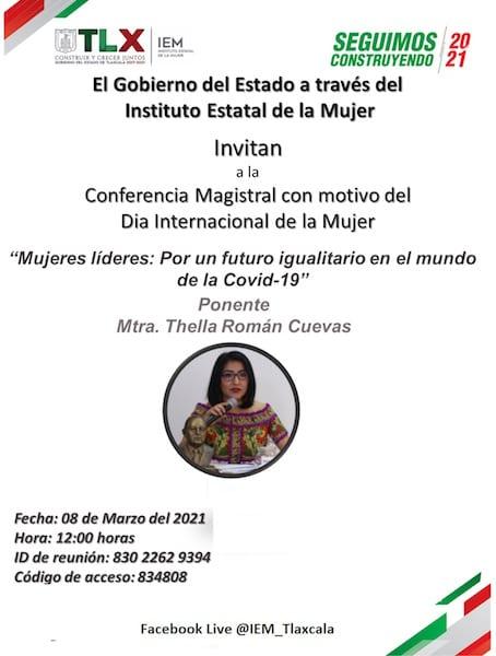 Conmemorará IEM día internacional de la mujer con conferencia virtual