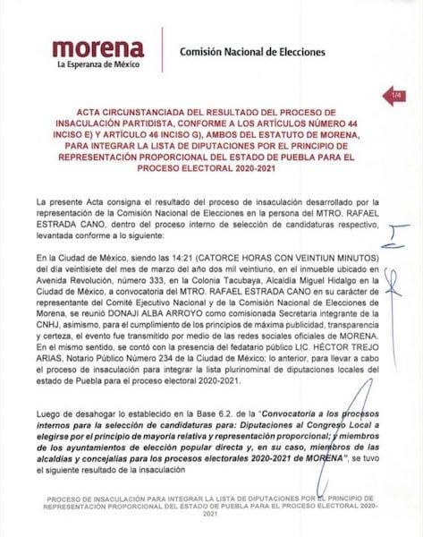 CEN de Morena realiza proceso de insaculación de candidatos por Puebla a diputaciones locales plurinominales