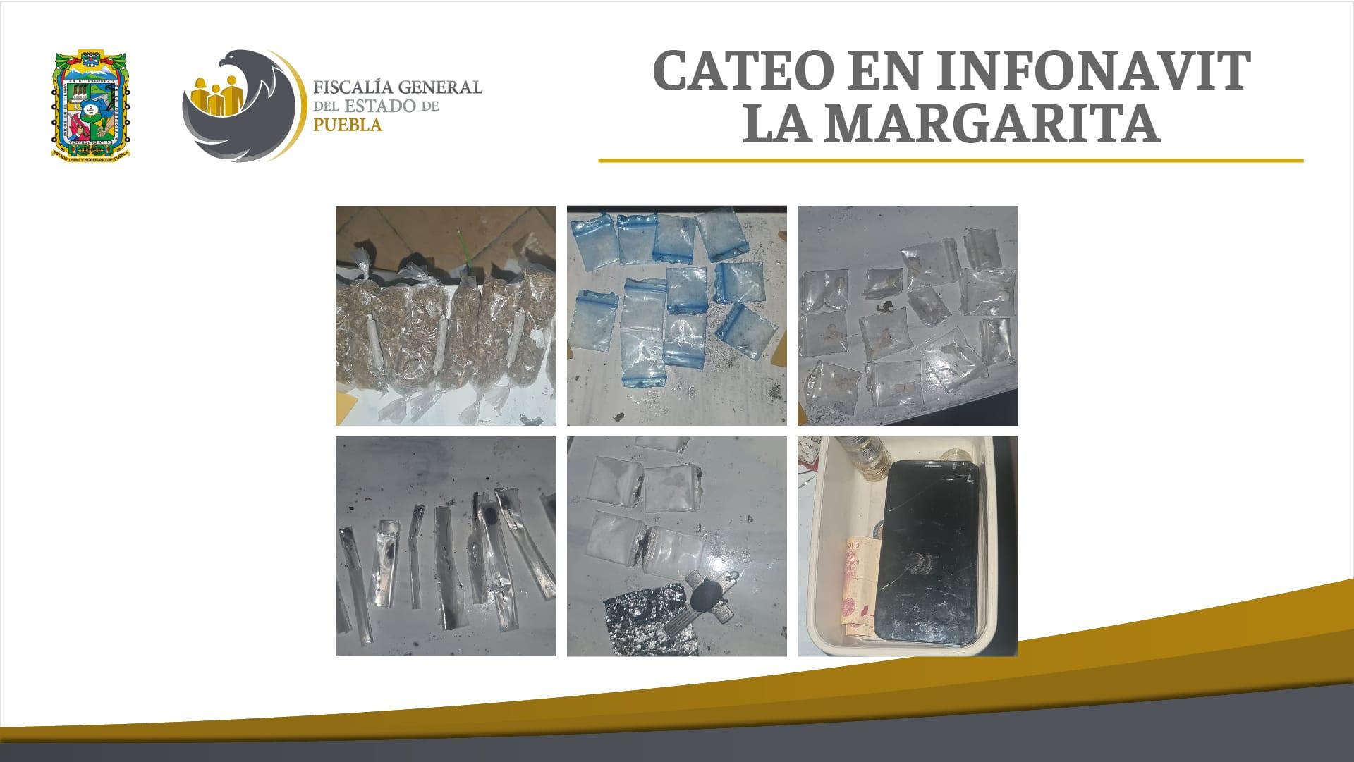 En cateo en La Margarita, Fiscalía Puebla aseguró más de 50 dosis de droga