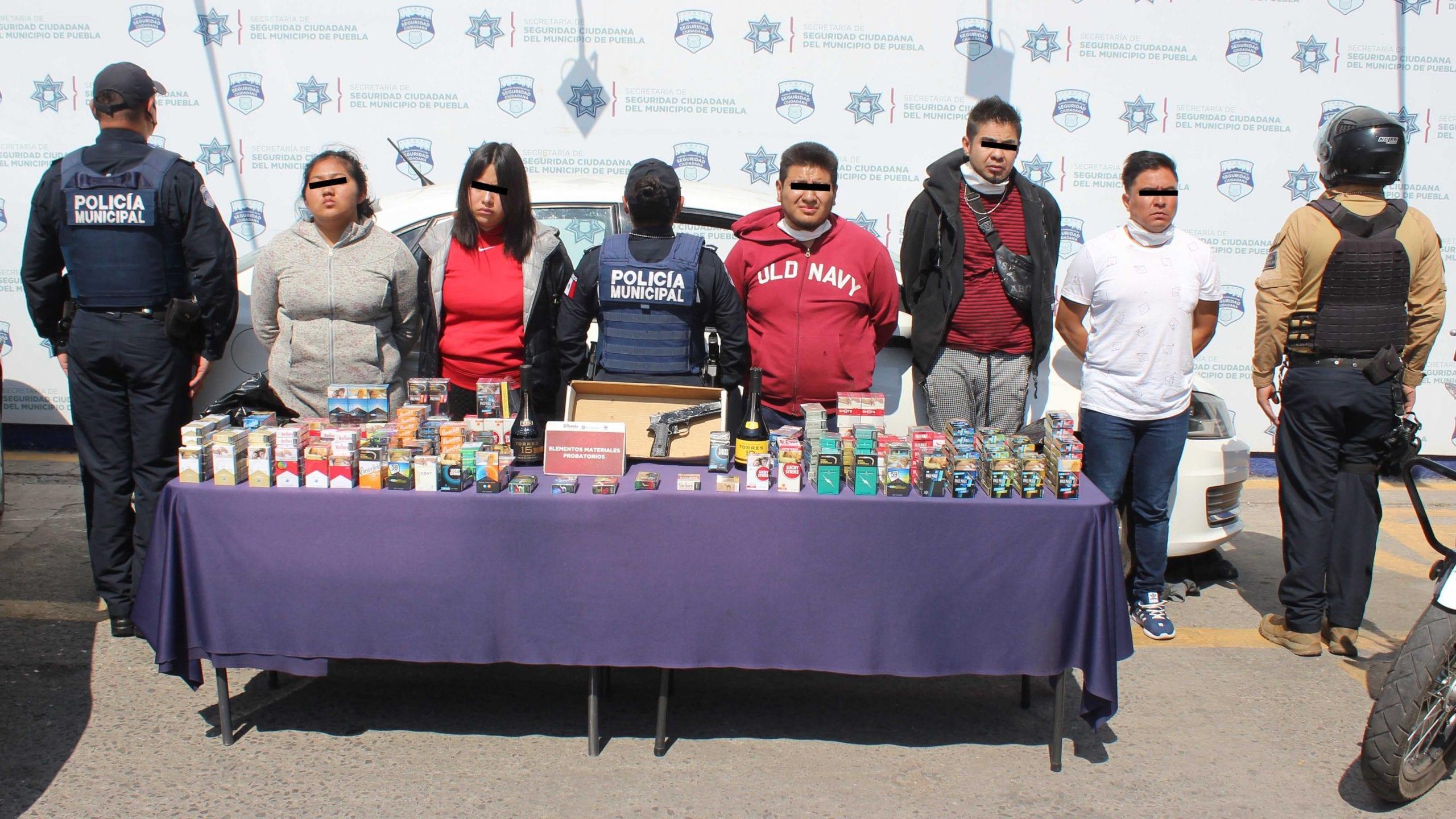 Desarticuló Policía Municipal de Puebla a banda delictiva presuntamente dedicada al robo contra tiendas de telefonía y Oxxo.