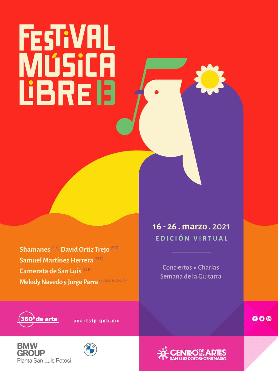 16 de marzo inicia 13 Festival Música Libre en el CEARTSLP